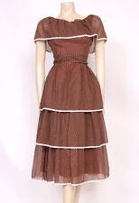 Original Vintage années 1970 années 70 marron blanc volants pois Summer Frill Robe! UK 10