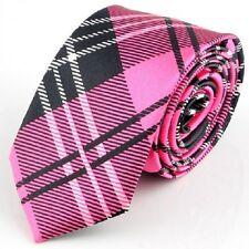 1 x mens ladies tie skinny thin tie pink tartan silk narrow school rose girl