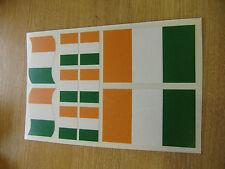 IRISH FLAG STICKERS SHEET SIZE 21cm x 14cm - IRELAND EIRE DECALS