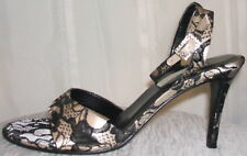LORD & TAYLOR LACE COVERED ANKLE STRAP HEELS SIZE 7 !