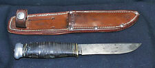 c1950 KABAR 7½ Inch Fixed Blade Knife With Original Leather Sheath