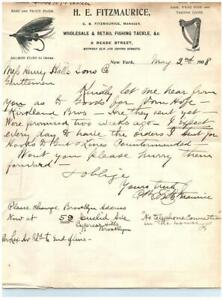 Antique Fly Fishing C.B. Fitzmaurice Signed Correspondence H.E Fitzmaurice