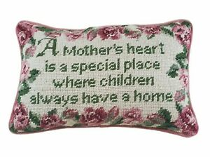 Mother's Heart Tapestry Throw Pillow Pink White Roses Sitting Room Chair Formal