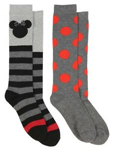 Disney Minnie Mouse Bow And Polka Dot Multicolor Crew Socks 2Pack Shoe Size 4-10