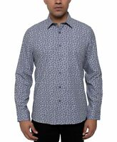 Kenneth Cole Mens Shirt Gray Size Medium M Paisley Stretch Button Down $79 #160