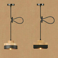 Industrial Pendant Lights Modern wood +Metal round square shade ceiling lamp