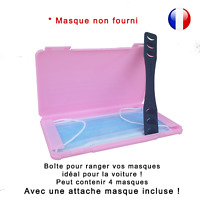 Boîte de rangement rose et attache noire pour masque