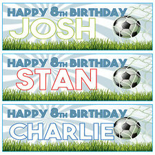 2 PERSONALISED FOOTBALL BIRTHDAY BANNERS - ANY NAME - ANY MESSAGE