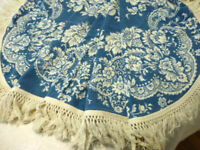 EUC Vintage Fieldcrest Blue & White Woven Coverlet Bedspread fringe blanket