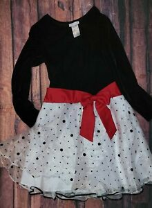 Ashley Ann Girls Holiday Christmas Dress Sz 14 Black White Red