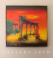 AWESOME! MID CENTURY MODERN ORIG OIL PAINTING! 50S ART ORANGE VTG ATLANTIS RUINS
