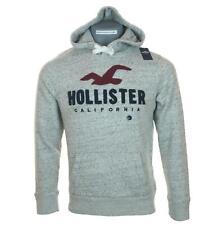 New Men's Hollister Hoodie Sweatshirt Fleece Lined L XL Embroidered Grey