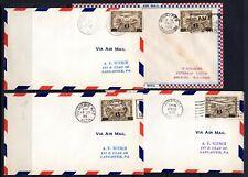 (D-1281) Canada Air Post FDC 1932 Sc#C3 x 4 Med. Hat, Edmntn, Winnpeg. Lethbrdg