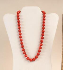 Vintage 21in, 40 Natural Mediterranean Red Coral Beads Necklace NO RESERVE