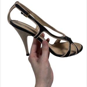 Escada Heels Size 9.5 Black Tan Etched Filigree Stilettos Open Toe Leather Pumps
