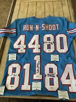 Run N Shoot Autographed/Signed Jersey Beckett COA Houston Oilers 5 Autos Moon