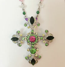 New Multi-Color Crystal Cross Charm Chain Pendant Brooch Beaded Necklace NE01234