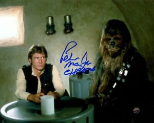 Peter Mayhew Signed Star Wars Chewbacca 8x10 Photo w/ Harrison Ford STEINER COA