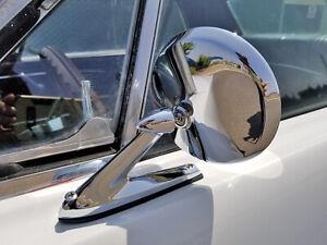 CHROME ROUND METAL EXTERIOR DOOR MIRROR LH RH MUSTANG FALCON THUNDERBIRD COUGAR