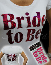 Iron on T Shirt Transfer BRIDE TO BE Hen Party Girls Night Out Gift (IRON-BTB)