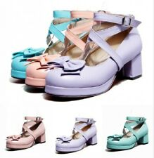 Ladies Lolita Shoes Mary Janes Cross Buckle Strap Bowknot Chunky Heel Pumps Date