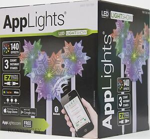 Gemmy AppLights LED Lightshow 3 Snowflake Pathway Stake 20.28 inch NIB