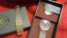 Authentic Guess Women's Watch w/Clear Plastic Band plus Box~ For Parts or Repair