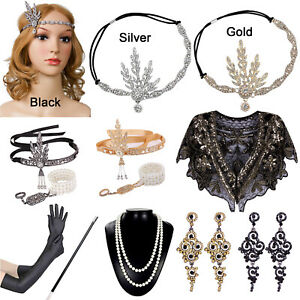 1920s Flapper Gatsby Evening Cocktail Party Wedding Dress Accessories Headpieces