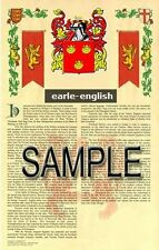 EARLE Armorial Name History - Coat of Arms - Family Crest GIFT! 11x17