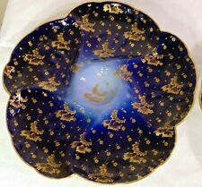 French CFH Haviland Chintz Limoges Porcelain Cobalt Blue Gold OYSTER Plate 9""