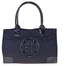 Authentic TORY BURCH Logo Shoulder Tote Bag Nylon Patent Leather Black 02EX031
