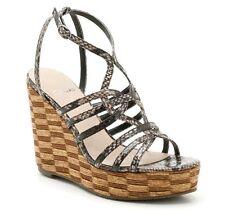 Clarks Women's UK 7 D Beige Tortoise Shell Wedge Heel Platform Brand Sandals NEW