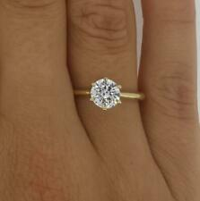 0.75 Ct Classic 6 Prong Round Cut Diamond Engagement Ring I1 E Yellow Gold 18k