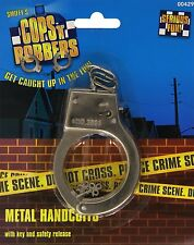 Metal Handcuffs with keys Cops Police Adult Unisex Smiffy's Fancy Dress Costume
