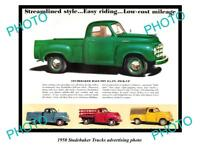 OLD LARGE HISTORIC PHOTO OF 1950 STUDEBAKER TRUCK ADVERTISMENT, HALF TON PICK UP