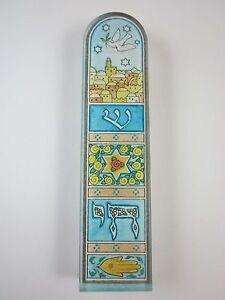 """Small Mezuzah Acrylic DOVE OF PEACE w NON Kosher Scroll 4"""""""