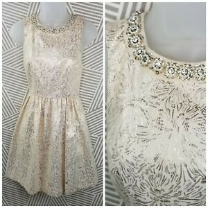 COOPERATIVE Urban Outfitters Dress Sz 2 Cream Gold Sparkle Jewel Collar metallic