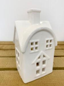 White Ceramic House Tea Light Holder - 16cm