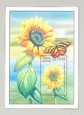 Sierra Leone #1919 Sunflowers, Butterflies 1v Imperf S/S Chromalin Proof