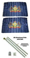 3x5 State of Pennsylvania 2ply Flag Aluminum Pole Kit Ball Top 3'x5'