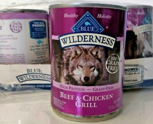 Blue Buffalo Wilderness beef and chicken grill Dog Food 12 --12.5oz Cans