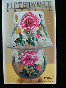 Fifth Avenue Ltd Crystal Crackle 10 in Candle Lamp Peony Floral