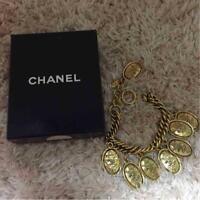 CHANEL Bracelet Bangle Gold GP Chain Oval Crown CC Motif COCO authentic