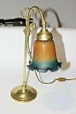 Lampe de bureau style ART DECO col de cygne avec tulipe pâte de verre coloré