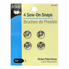 New 4 Sew-On Snaps(Brouches de presión) by Dritz Size 3, Nickel