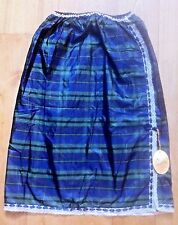 FRENCH 1950s WOMAN SILK SKIRT SLIP~BLUE & GREEN PLAID & LACE TRIMS~NEW & TAG~M