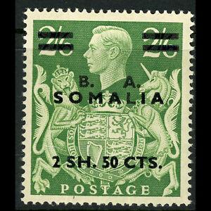 B.I.O.C. SOMALIA 1950 2s50c on 2s6d Green. SG S30. Lightly Hinged Mint. (FM349)