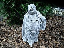 Steinfigur Wander- Buddha  Frostfest Steinguss Garten Deko Feng-Shui