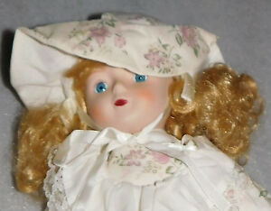 Porcelain Doll Linda MG Collection White Floral Dress Bouquet Blonde Hair 16 in.