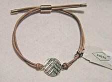 FOSSIL CHEVRON GLITZ ROSE GOLDTONE STAINLESS STEEL BRACELET WITH CRYSTAL ACCENTS